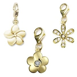 Julieta Jewelry Flower 14k Gold Over Sterling Silver Clip-On Charm Set