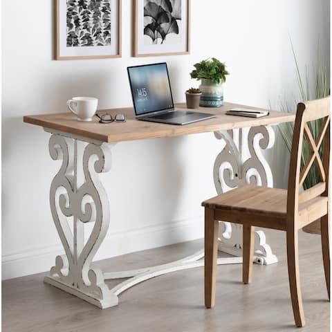 Kate and Laurel Wyldwood Rustic Carved Wood Desk