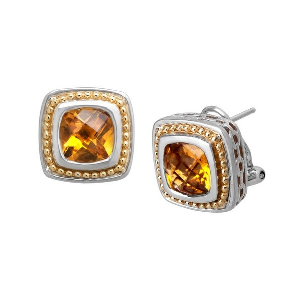 4 ct Citrine Stud Earrings in Sterling Silver & 18K Gold - Yellow