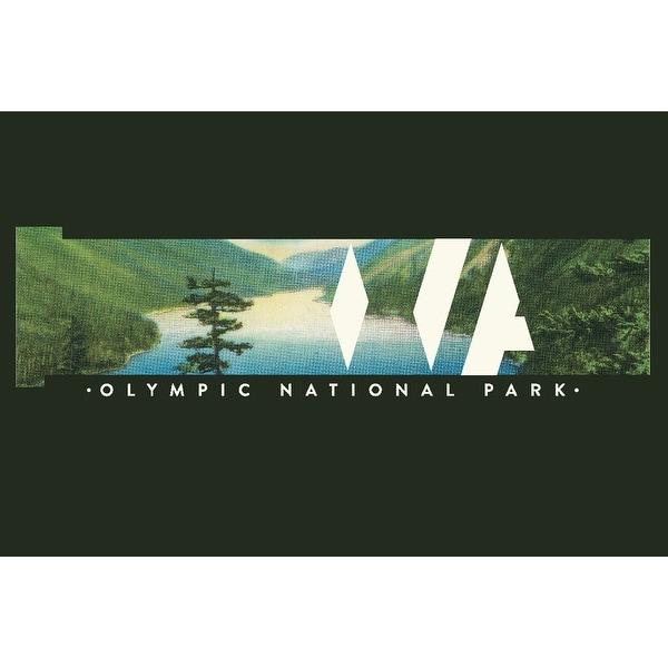 Olympic National Park, Washington - Washington State with Vintage Postcard  - Lantern Press Artwork (Art Print - Multiple Sizes A