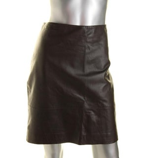 Anne Klein Womens Leather Lined Pencil Skirt
