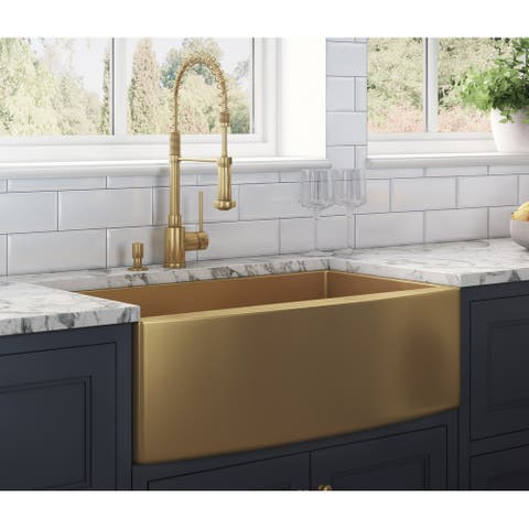 Ruvati 33-inch Apron-Front Farmhouse Kitchen Sink -Tone Matte Gold Stainless Steel Single Bowl - 8' x 11'