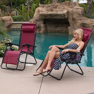 BELLEZE Set of 2 Anti Gravity Chairs Adjustable Reclining Outdoor Utility Tray, Burgundy