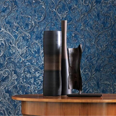 Vinyl Wallpaper blue silver gray metallic textured damask embossed 3D
