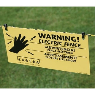 Zareba WS3 Electric Fence Warning Sign, 4'' x 8''