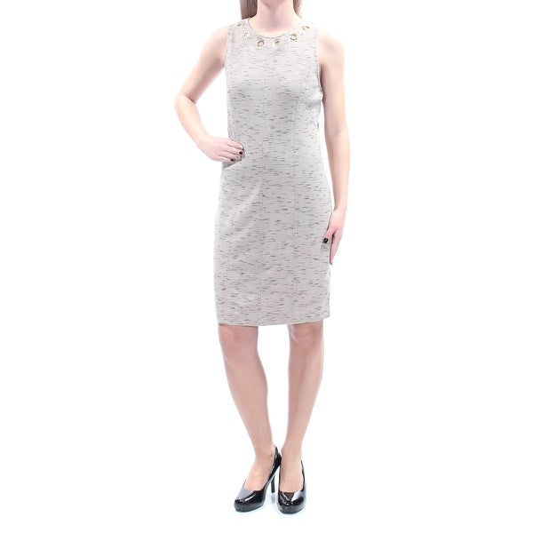 bc3cd277fcbd9 Shop KENSIE Womens Beige Eyelet Sleeveless Jewel Neck Above The Knee Sheath  Wear To Work Dress Size  XS - On Sale - Free Shipping On Orders Over  45 ...