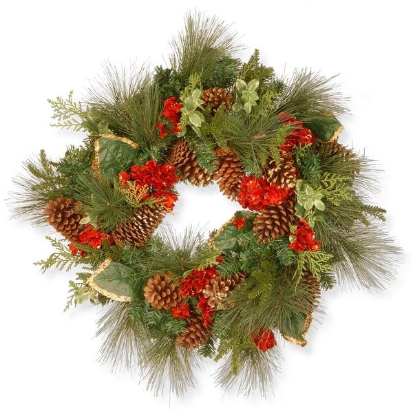 Evergreen Hydrangea Artificial Christmas Wreath - 27-Inch, Unlit - N/A