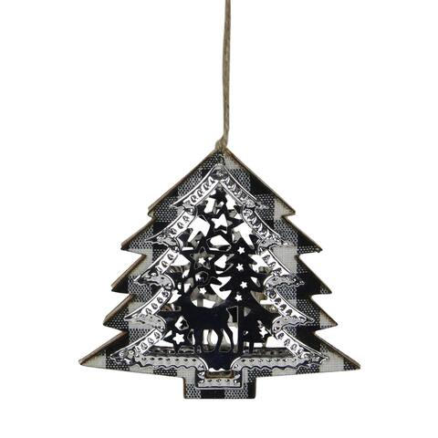 "4.25"" Black and White Buffalo Plaid Christmas Tree Shaped Reindeer Ornament"