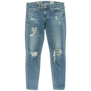 Adriano Goldschmied Womens The Stilt Cigarette Jeans Destroyed Light Wash
