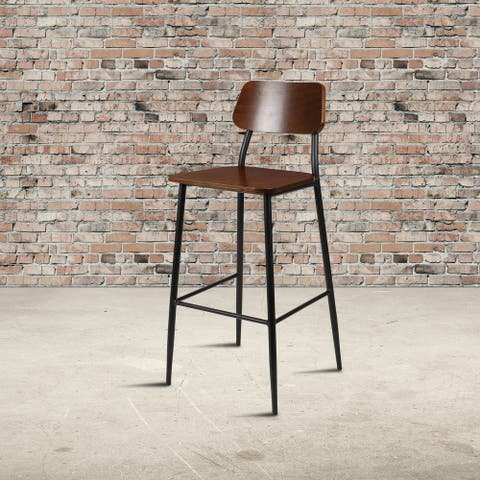 Industrial Barstool with Steel Frame and Rustic Wood Seat