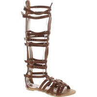 Monica-1 Knee High Gladiator Sandals Marcelino Black Brown Knee