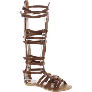 Monica-1 Knee High Gladiator Sandals Marcelino Black Brown Knee