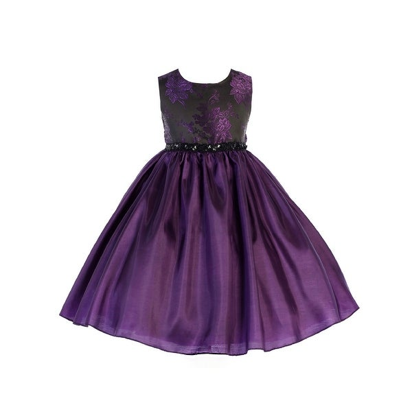 b2e5b97642 Crayon Kids Girls Purple Floral Sequin Junior Bridesmaid Dress