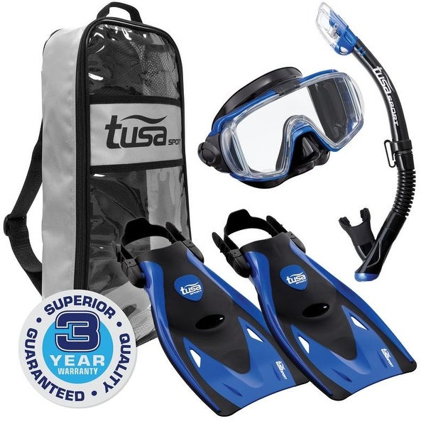 TUSA Sport Adult Black Series Visio Tri-Ex Mask, Dry Snorkel, and Fins Travel Set