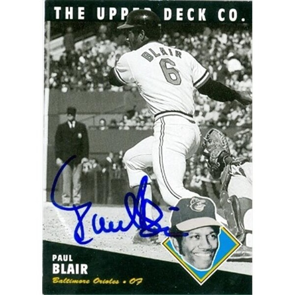 Paul Blair Autographed 1994 Bat Upper Deck Baseball Card Baltimore