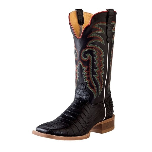 Outlaw Western Boots Mens Caiman Print Narrow Square Toe Black