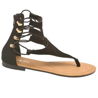Anna Adult Black Thong T-Bar Strap Back Zipper Flip Flop Sandals