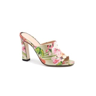 Gucci Womens Soft Bloom Print High Heel Sandal Mules Size 36 / 6