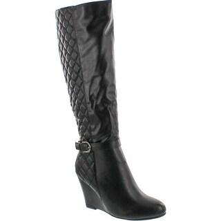 Nature Breeze Bella-02 Women's Small Platform High Wedge Side Zipper Boot - Black