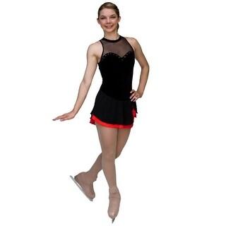 ChloeNoel Girls Black Velvet Red Mesh Ice Skating Dress 6-12