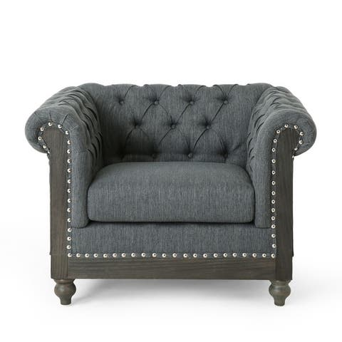 "Castalia Chesterfield Tufted Club Chair with Nailhead Trim by Christopher Knight Home - 39.00"" L x 33.50"" W x 28.00"" H"