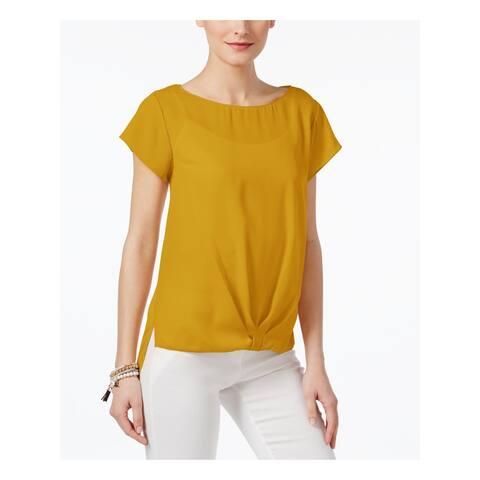INC Womens Gold Short Sleeve Jewel Neck Top Size S
