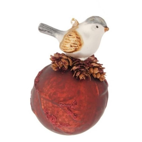 "5.5"" Burnt Sienna Red Mercury Glass Ball Glitered Christmas Decoration w/ Perched Bird"