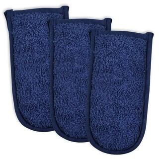 Set of 3 Decorative Navy Blue Pan Handle Terry Cloth Potholders 6