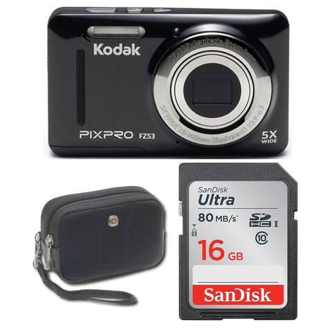 Kodak FZ53 Digital Camera (Black) with 16GB SD Card and Case Bundle