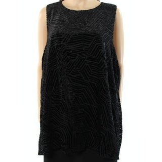 Alfani Deep Womens Scoop Neck Velvet Burnout Tunic