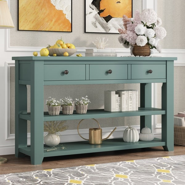 """Nestfair 48"""" Modern Console Table with 3 Drawers and 2 Shelves. Opens flyout."""