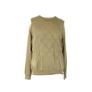 Perry Ellis Beige Diamond-Knit Crew-Neck Sweater L