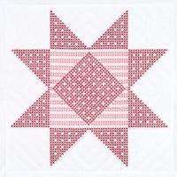 "Stamped White Quilt Blocks 18""X18"" 6/Pkg-Xx Gingham Star"