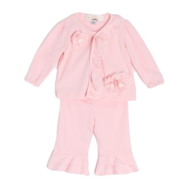 Isobella & Chloe Baby Girls Light Pink Long Sleeve Flower 2 Pc Outfit