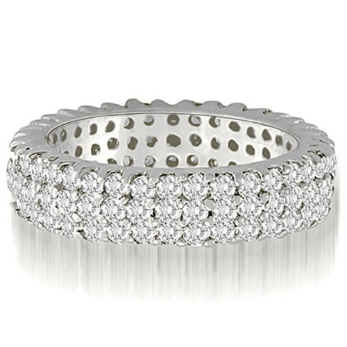 2.20 cttw. 14K White Gold Three-Row Round Cut Diamond Wedding Eternity Band