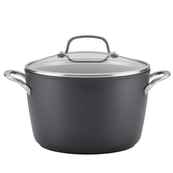 KitchenAid Hard-Anodized Induction Nonstick 8Qt Stockpot Matte Black. Opens flyout.