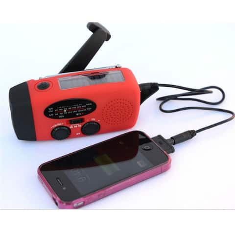 All in 1 SOLAR HAND CRANK DYNAMO RADIO FLASHLIGHT PHONE CHARGE - Red