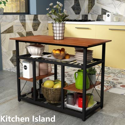 [Pre Sale]Kitchen Rack with Large Worktop,Console Side Table,Brown