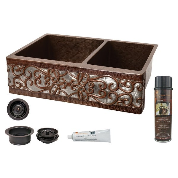 """Premier Copper Products KSP3_KA60DB33229S-NB Scroll Design 33"""" Hammered Copper 60/40 Double Basin Farmhouse Kitchen Sink with"""