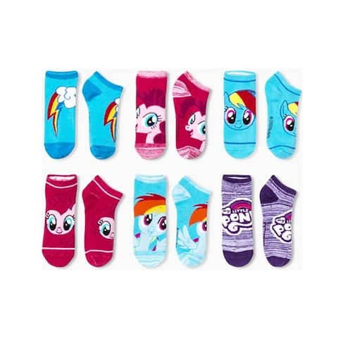 NYP Comics My Little Pony Women 6-Pack Blue/Pink/Purple Ankle Socks Size 9-11 - Sock Size 9-11