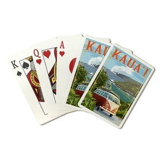 Kauai, Hawaii- VW Van Coastal - Lantern Press Artwork (Playing Card Deck - 52 Card Poker Size with Jokers)