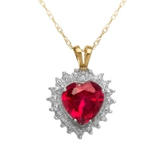 1 3/4 ct Created Ruby Heart Pendant with Diamond in 10K Gold - Red
