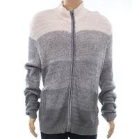 Alfani Gray White Mens Size Small S Full Zip Ombre Textured Sweater