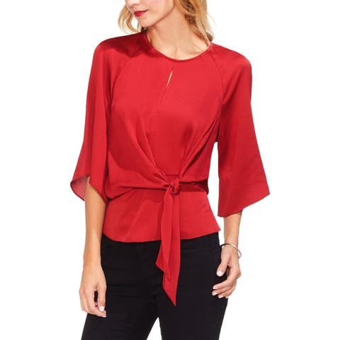 Vince Camuto Womens Blouse Satin Bell Sleeve