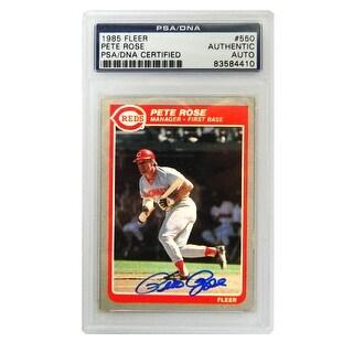 Pete Rose Cincinnati Reds 1985 Fleer Trading Card 550 PSA Encapsulated