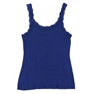 Jenni Womens Sleep Tank Lace-Trim Ribbed