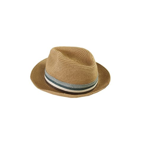 August Hat Tan Blue Stripe Band Fedora Hat OS