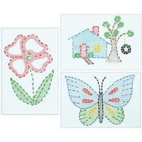 """Outside Fun - Stamped Embroidery Kit Beginner Samplers 6""""X8"""" 3/Pkg"""
