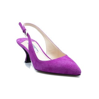 Prada Women's Pointed Toe Pumps Purple Buckled Shoes