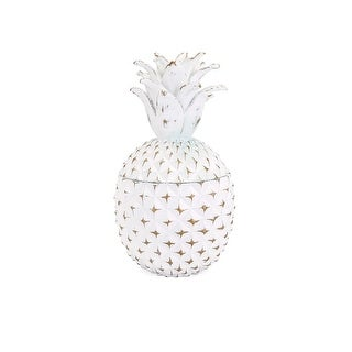 """12"""" Small White """"Brianna"""" Pineapple with Gold Accents Storage Box"""